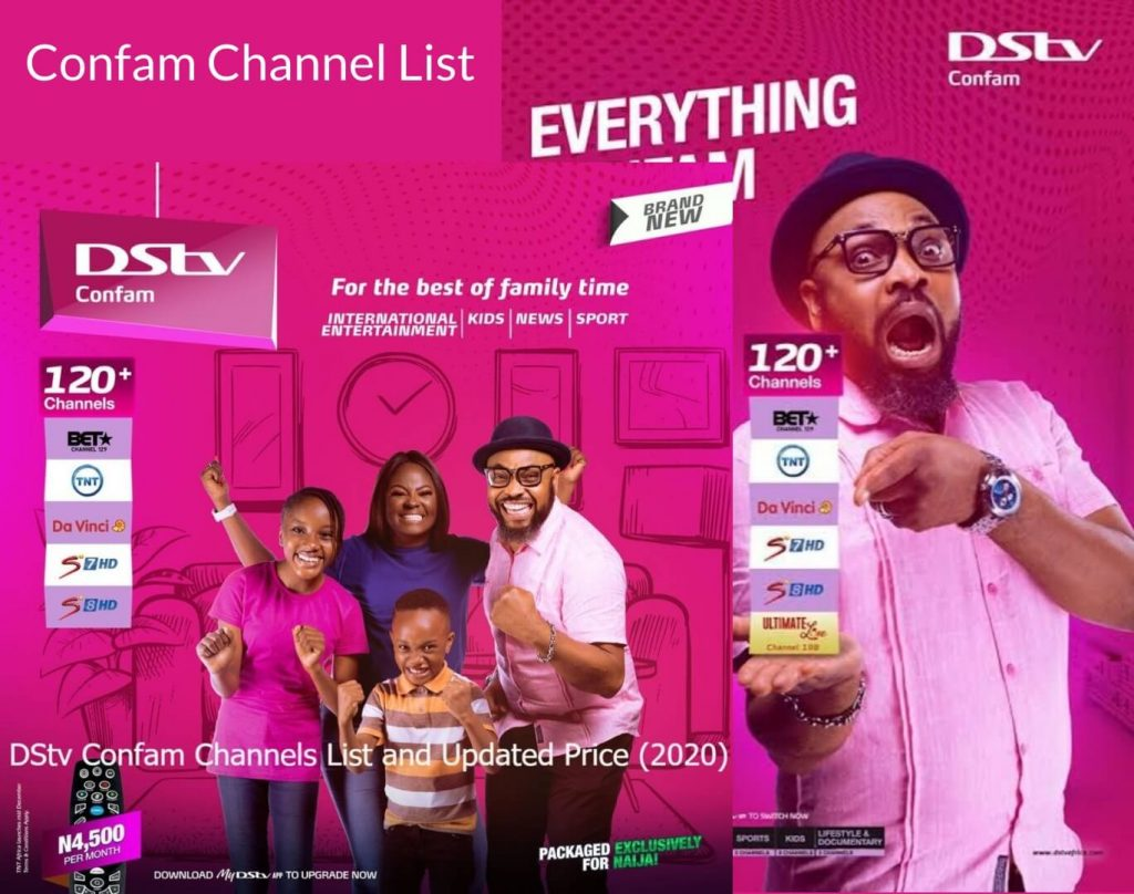 DSTV Confam channel list and price in Nigeria