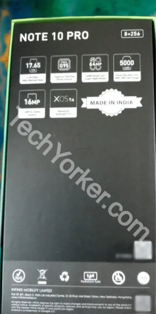 Infinix Note 10 retail box reveals full specs