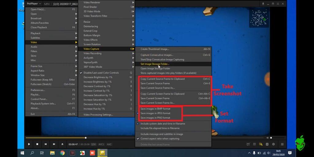 How to capture screenshot on Potplayer